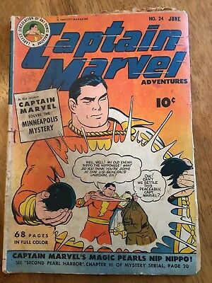 Vintage 1943 Captian Marvel Golden Age No.24 June