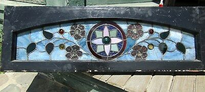 Victorian Stained And Jeweled Floral Arch Window 12 By 37