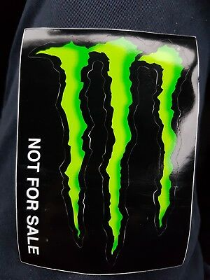 2 x Official Monster Energy Stickers 8cm x 6cm *Free postage green