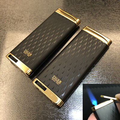 2Pcs Ultra-thin Jet Torch Flame Butane Windproof Cigar Cigarette Lighter B/G
