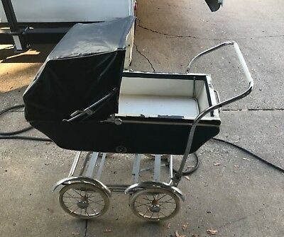 vintage antique navy blue baby buggy