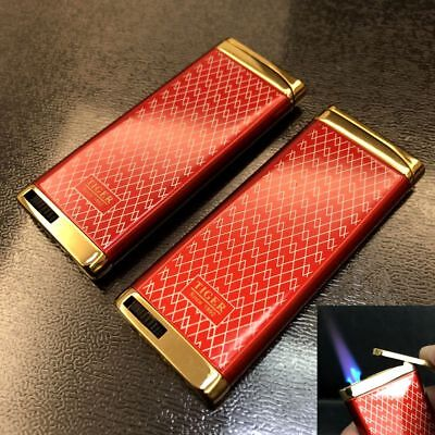 2 Pcs Ultra-thin Jet Torch Flame Butane Windproof Cigar Cigarette Lighter Red
