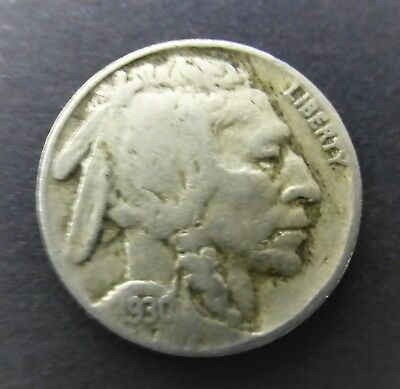 """Vintage United States 5 Cents - 1930 """"Buffalo Nickel"""" Flat Ground coin"""