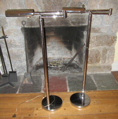 Vintage Pair of KOCH & LOWY CHROME Cylindrical Shade Articulating Floor Lamps
