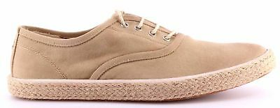 Men's Shoes CYCLE Rubber Sole Canvas Beige Vintage Exclusive Made In Italy New