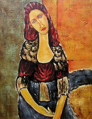 Amedeo Modigliani's Portrait of Jeanne Repro Hand Painted Oil Painting 12x16in
