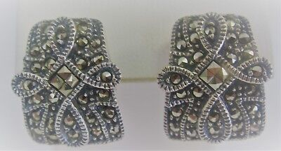 Vintage (Thailand)Sterling Silver and Marcasite Stud Earrings with a Cross Motif