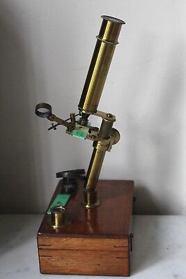 "Very Fine Victorian Case Mounted ""school & Garden"" Botanical Microscope"