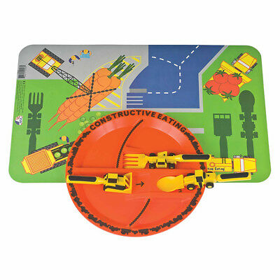 Constructive Eating Construction Plate with 3 pc Utensil Set Plate and Placemat