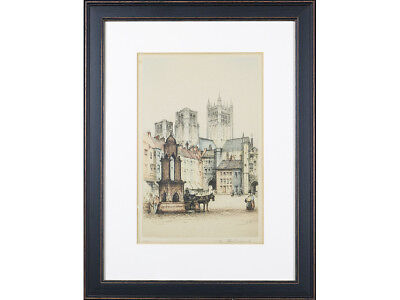 EARLY 20TH CENTURY Coloured Etching  - 'Wells Somerset' by Edward Sharland