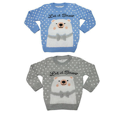 Boys Girls Kids Let It Snow Polar Bear Xmas Cute Christmas Knitted Retro Jumpers