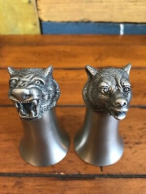Vintage Set of 2 Animal Head Stirrup Cups Pewter 3.5""