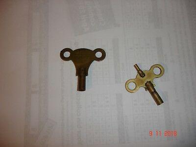 Two Vintage Brass Clock Keys