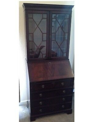 Vintage Larkswood Writing Bureau With Desk and Glass Cabinet