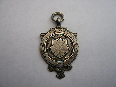 Vintage Sterling Silver Pocket Watch Chain Fob Medal 1941 Carrick Ww2 Period