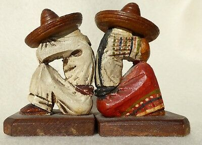 Vintage Mexican Folk Art Pair Sleeping Sombrero Man and Woman Hand Carved/Paint