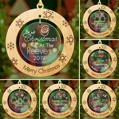 PERSONALISED Christmas Tree Decoration Bauble First Mr Mrs/ Baby Santa Xmas Gift