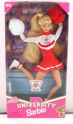 1996 University Barbie Doll Wisconsin (jumping right) New from Dealer Stock