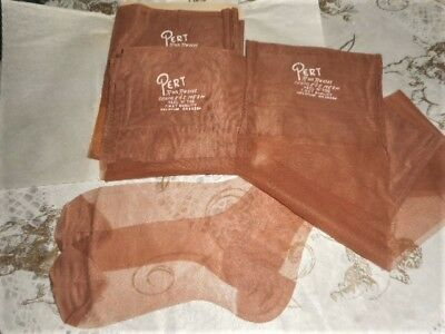 "Vintage Lot Of 3 ""pert"" 1St. Quality Run Resist R.h.t. Nylon Stockings 10-33L"