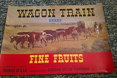 Conestoga WAGON TRAIN Vintage Pear Crate Label ORIGINAL Medford, Oregon 1940's
