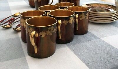 Crown Devon red/gold ivy design coffee cups, saucers and spoons