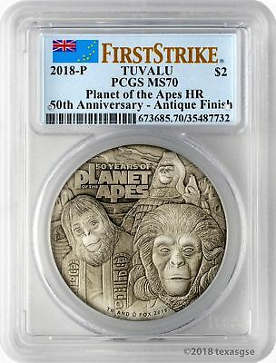 2018-P $2 Tuvalu 50 Years Planet of the Apes 2oz HR 9999 Silver PCGS MS70 FS