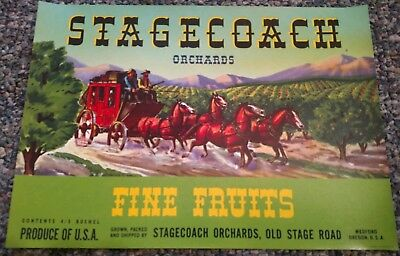 STAGECOACH Vintage Pear Crate Label ORIGINAL Medford, Oregon 1940's