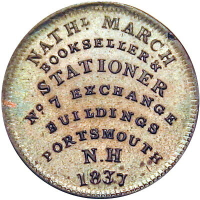 1837 Portsmouth New Hampshire March Bookseller Hard Times Token NGC MS62 HT-194