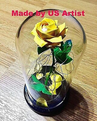 origami paper flower Disney Beauty and the Beast Enchanted Rose Belle Glass dome