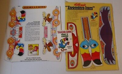 Vintage Kelloggs Cereal Box Froot Loops Toucan Sam 2 Cut Outs + (inv7)