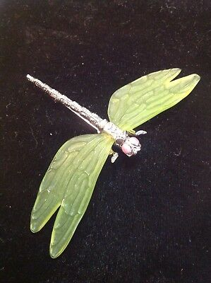 Vintage Lucite Wings DRAGONFLY Brooch Pin Signed MMA Metropolitan Museum of Art
