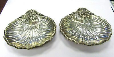 """Pair of Reed & Barton Sterling Silver Candy Nut Shell Dishes X571-6""""x5.5"""" 303gr."""