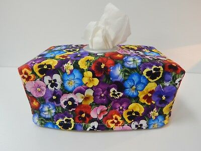 Tissue Box Cover Colourful Pansies With Circle Opening - Great Gift!