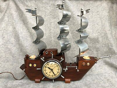 Vintage Lighted Wooden Ship w/ USA United Self Starting Mantel Clock not working