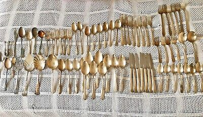 Lot of Vtg Antique Silverplate Flatware silverware Serving Matching Sets 73 pcs