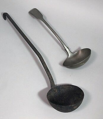 Pair 2 antique large ladles pewter cast iron Noelle`s Albaloid Germany Victorian