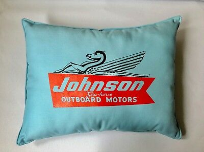 Johnson Seahorse Vintage Style Outboard Motor Pillow Handmade New Nautical Decor