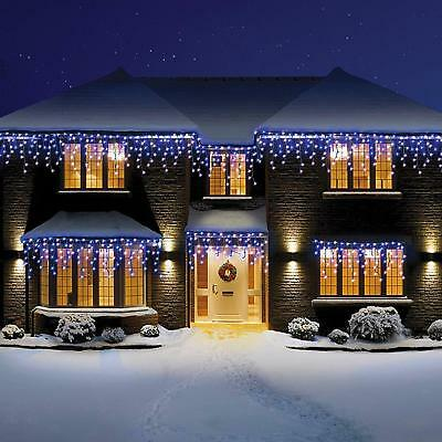 Blue & White Icicle Lights 240/360/480/720/960/1200 Led Snowing Effect Christmas