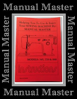 Models 345, 778 & 888 Jones Brother  sewing machine instruction Manual Booklet