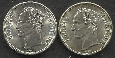 1945 Venezuela 2 Bolivar Silver Coins. Lot of 2. Both Nice BU.