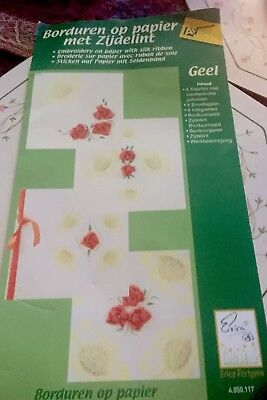 Ribbon Roses On Card Embroidery Kit