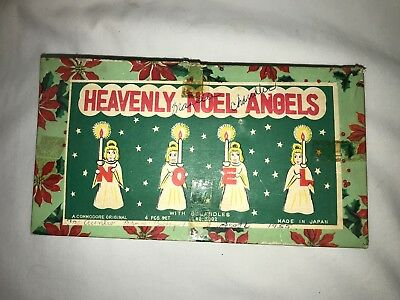 VINTAGE Heavenly NOEL Angels Candle Holders~COMMODORE Japan w/ ORIGINAL CANDLES!