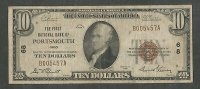 1929 Type 1 $10 The First National Bank of Portsmouth Ohio Low Charter 68