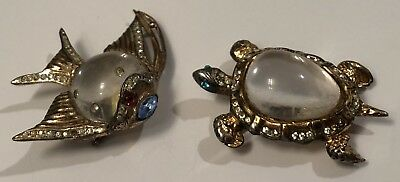 Vintage Pair Of Coro Sterling Silver Jelly Belly Angelfish And Turtle Brooch Pin