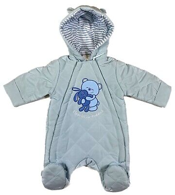 Newborn, 0-3, 3-6 Months Boys Super Soft Hooded Baby Fleece All In One Snowsuit