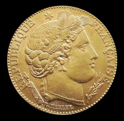 1896 A Gold France 10 Francs 3.22 Grams Liberty Head Coin Paris Mint