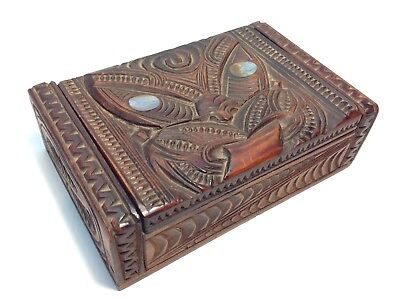 Maori Hand Carved Wooden Feather Trinket Box Vintage  New Zealand Tiki