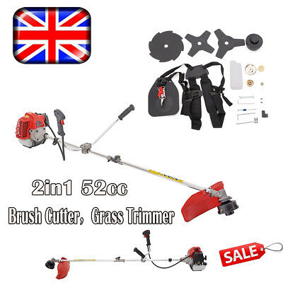 52cc 2in1 Petrol Strimmer Grass Trimmer, Brush/Bush Cutter, 3 Blades Plants Tool