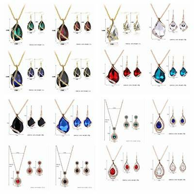 Women's Alloy Rhinestone Teardrop Pendant Chain Necklace Earrings Jewelry Set
