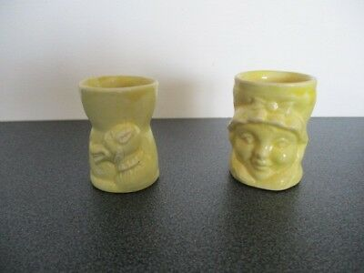 Vintage Bad Wolf Little Red Riding Hood Ceramic Egg Cup Set